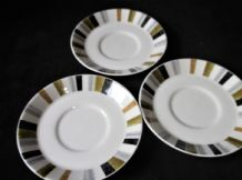 "3 X VINTAGE MIDWINTER QUEENSBERRY BOLD RETRO DESIGN SAUCERS 5"" DIA"